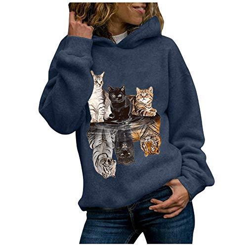 Sudaderas Mujer Baratas con Capucha 2020 Invierno Mujeres Animal Gato impresión Sudaderas...