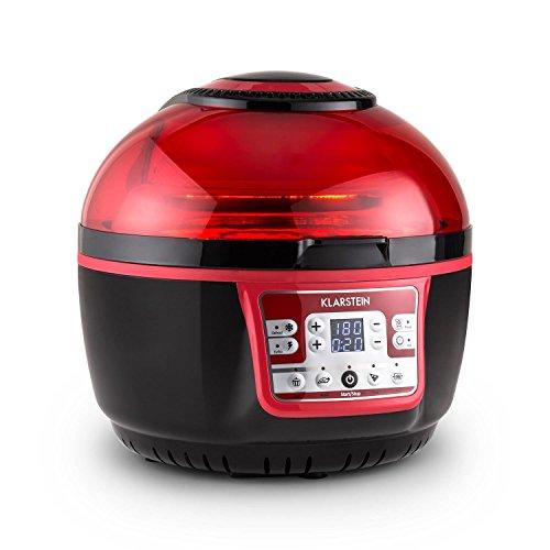 Klarstein VitAir Turbo - Freidora de aire caliente, 1400 W, 9 L, 50-230°C, Sin aceite, Infrarrojos halógenos, Programas manual/automático, Desconexión automática, Pantalla LCD, Antiadherente, Rojo