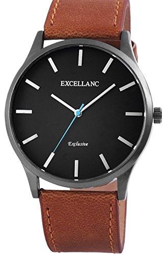 Reloj elegante y sobre Excellanc pulsera marrón claro segundero azul modelo exlcusive
