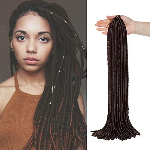 Silk-co Extension Capelli Colorati per Treccine di Fibre Rasta Braiding Hair Capelli Intrecciati Dreadlocks Extension a Trecce 50cm–Marrone Scuro