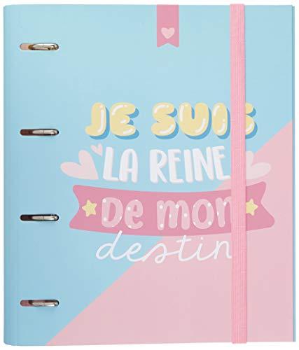 Carpeta 4 anillas troquelada premium Carouge Blue & pink editado en Frances