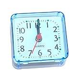 Funnyrunstore Creativo Lindo pequeño Cristal Cuadrado Despertador Reloj Despertador Dormitorio cabecera Oficina electrónica Reloj Azul