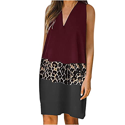 Aocase Vestido de verano para mujer, sexy, cuello en V, sin mangas, hombros descubiertos, informal, estampado de leopardo