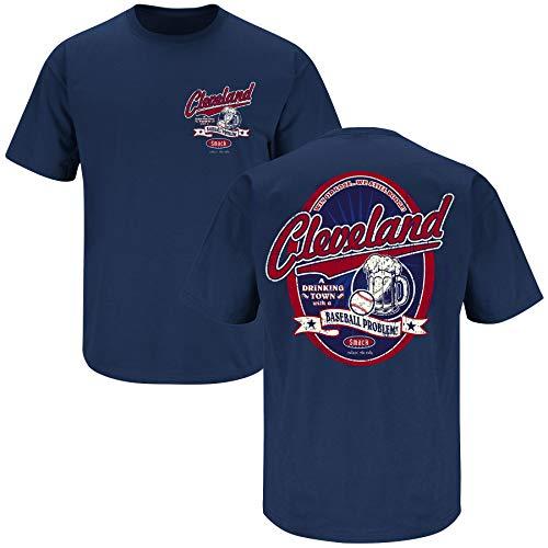 Smack Apparel Cleveland Indians Fans. Trinken Town. Cleveland Trinken Town mit Ein Baseball Problem. Marineblau T-Shirt (S-5X), Unisex-Erwachsene Herren Damen, navy, 2X