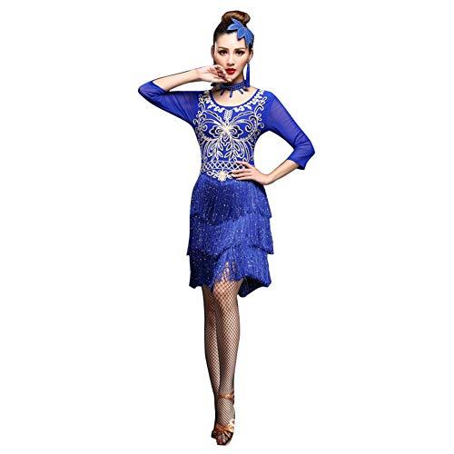 LNIGHT ラテンダンス衣装 フリンジ スパンコール ドレス グループ演出服 社交ダンス ギットバ レッスン着 タンゴ ルンバ サンバ パソドプレ 練習 競技 開場ドレス (ブルー,XL)
