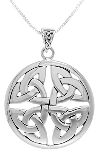 Jewelry Trends Sterling Silver Celtic Trinity Knot Medallion Pendant on 22 Inch Box Chain Necklace