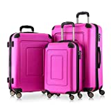 Happy Trolley - 3er Koffer-Set Trolley-Set Rollkoffer Hartschalen-Koffer Reisekoffer Lugano sehr leicht, TSA, (S, M & XL), Pink