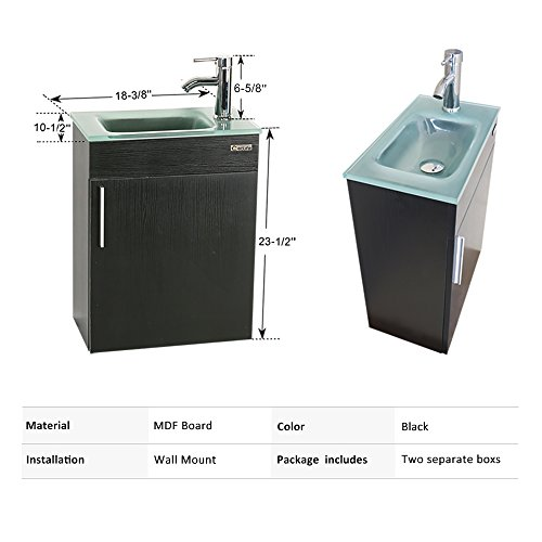 eclife 18.4'' Bathroom Vanity Combo,Modern Design Wall Mounted Vanity Set with Terpered Glass Sink Top & Chrome Faucet & Flexible U Shape Drain (A15E01)