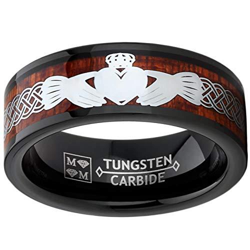 Metal Masters Co. Men's Black Tungsten Irish Celtic Claddagh Wedding Band Wood Inlay Crown Heart 8MM