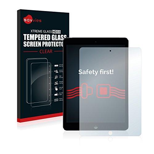 savvies Cristal Templado Compatible con Apple iPad Air 2 2014 Protector Pantalla Vidrio Proteccion 9H Pelicula Anti-Huellas