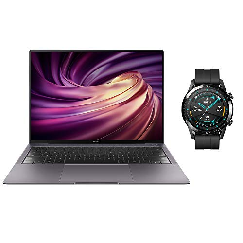 HUAWEI MateBook X Pro 2019 - 13.9 Inch Laptop with 3K FullView 10-point Touchscreen, Intel Core i7, 8 GB RAM, 512GB SSD (Space Grey) with Watch GT 2 - Matte Black