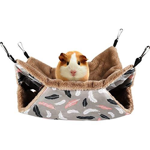 Vinnykud Hängematte Höhle Kleintier Schaukel,Doppelschicht Haustierkäfig Hängematten Schläfer Hängematte für Ratte, Frettchen, Chinchillas Totoro,Hamster, Meerschweinchen, oder Andere Haustiere