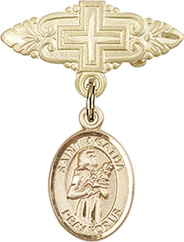 14kt Gold Baby Badge with St. Agatha Charm and Badge Pin with Cross St. Agatha is the Patron Saint of Nurses/Breast Cancer 1 X 3/4