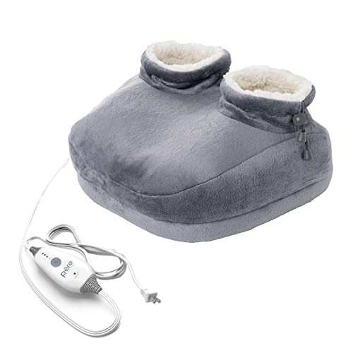 Pure Enrichment PureRelief Deluxe Foot Warmer - Fast-Heating Sherpa-Lined Electric Boots with 4 Heat Settings, Durable Anti-Slip Sole, Auto Shut-Off, and Machine-Washable Fabric