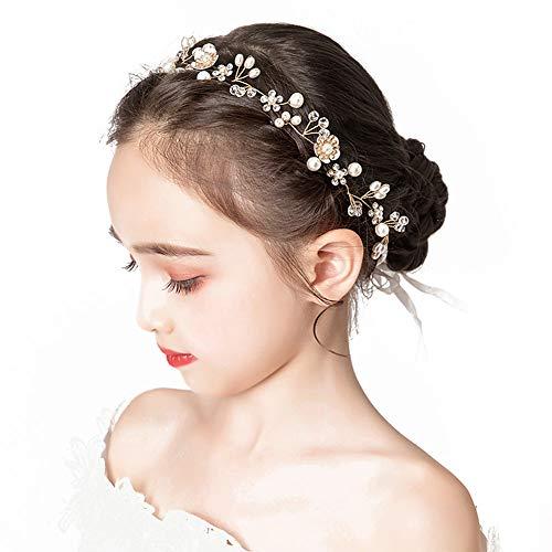 Wedding Hair Accessories for Kids, Princess Headpiece White Flower Headband Pearl Hair Dress for Girl and Flower Girls Cute Bridal Wedding Hair Band
