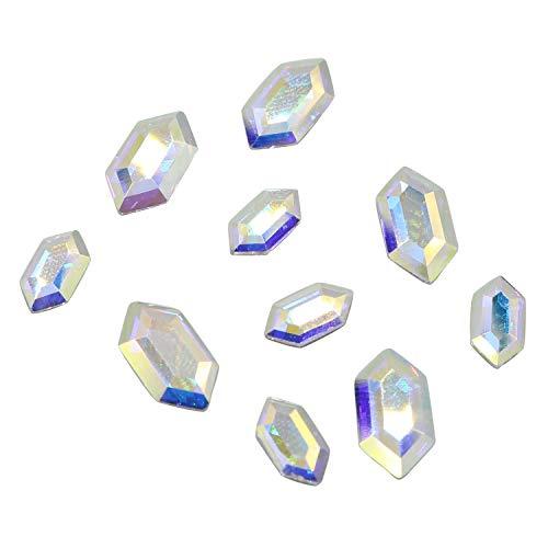 Swarovski 2776 Elongated Hexagon Flatbacks Crystals Nail Art Rhinestones, Mixed Size (11x5.6mm and 8.2x4.2mm) Crystal AB- 10 Pieces