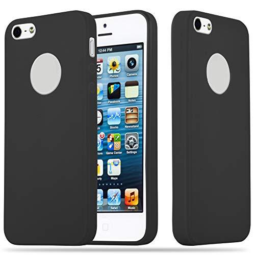Cadorabo Custodia per Apple iPhone 5 / iPhone 5S / iPhone SE in Candy Nero - Morbida Cover Protettiva Sottile di Silicone TPU con Bordo Protezione - Ultra Slim Case Antiurto Gel Back Bumper Guscio