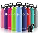 HoneyHolly Botella de Agua Acero Inoxidable sin BPA 1000ml/Azul púrpura, Aislamiento de Vacío de Doble Pared, Botellas Frío/Caliente, Reutilizable para Niños, Colegio, Sport, Gimnasio, Bicicleta