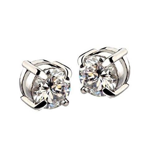 Pendientes - SODIAL(R)1 par Pendientes de diamantes de imitacion de iman Pendientes de hombre Blanco