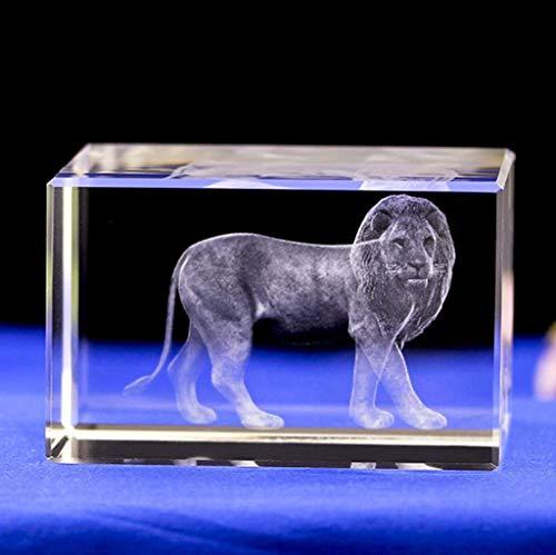 KEER Crystal Glass Cube Lion Model 3D Laser Engraving Figurines Crafts (2.28'x2.28'x3.86')