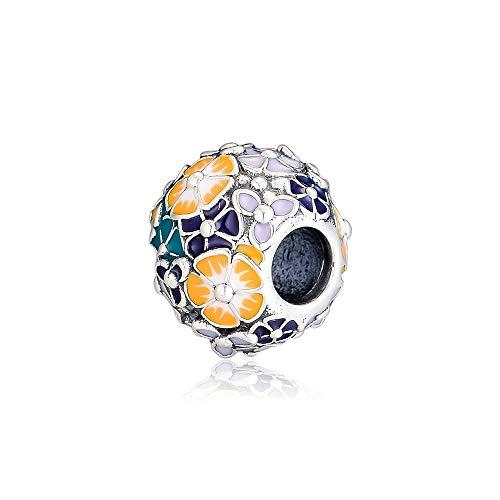 PANDOCCI 2019 Perla Classica di Composizione Floreale di Primavera Argento 925 Fai-da-Te Adatto per bracciali Pandora Originali Gioielli di Moda con ciondoli
