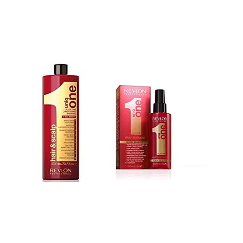 Revlon Professional UniqOne Champú y Acondicionador 1000 ml + Revlon UniqOne Classic Tratamiento en Spray para Cabello 150 ml