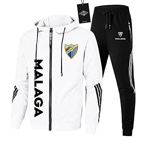 JesUsAvila de Los Hombres Chandal Conjunto Trotar Traje M.ála.ga.Club-Fútbol Hooded Zipper Chaqueta + Pantalones Deporte Sudadera Suéter Joggers/Blanco/XL