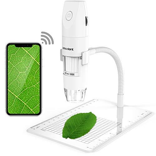 Microscopio digitale wireless, microscopia Pancellent 1080P da 50X a 1000X USB con 8 LED, collezione di diapositive da 12 pacchetti (Bianco)