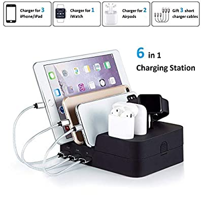 KeyEntre 6 Port USB Charging Station Multi Device USB Charging Dock Station HUB Desktop Charger Stand Organizer Compatible for iPhone ipad Airpods iwatch Kindle Tablet Multiple Devices, Black by KeyEntre