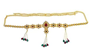 ShilpoGantha Traditional Belly Chain with Pearl Beads and American Diamonds