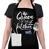 Banana King Aprons for Women Cute-Queen of The Kitchen Apron with Pockets-Baking Gifts for Mom-Women's Chef Aprons for Cooking Funny-Best Gift for Birthday, Thanksgiving, Valentines Day, Mother's Day
