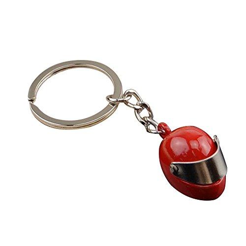 Drawihi Schlüsselanhänger Motorradhelm Anhänger Schlüsselring Schlüsselhalter für Trucker Vater Ehemann Freund (Rot) 8 x 2,8 x 2 cm
