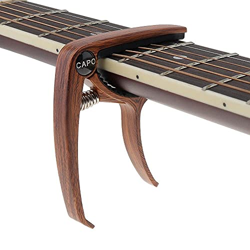 QLONG Guitarra de aleación de Zinc Capo, Guitarra Capotraste Tuner Sintonizador Instrumento Musical Guitarra Piezas de Guitarra Accesorios, Estilo 2, Madera Clara (Color : Style 2-Dark Wood)
