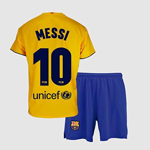Conjunto Camiseta y pantalón 2ª equipación FC. Barcelona 2019-20 - Replica Oficial con Licencia - Dorsal 10 Messi - Niño Talla 12