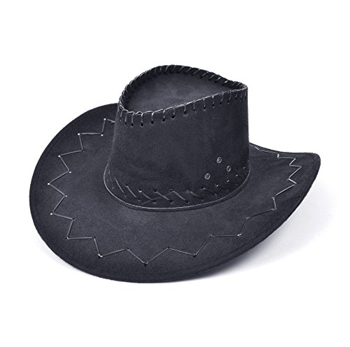 Sombrero de vaquero Wild West USA Rodeo Dallas Cowhand Farmer Fancy Dress Cosplay Add-on cosido negro