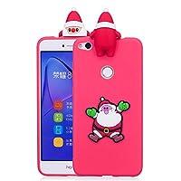 ケース Huawei P8 Lite、薄型 かわいい 3D 漫画 クリスマス 新しい パンダ ケース、シリコン ソフトフレーム tpu カバー、ユニーク 人気 耐衝撃 弾性 軽量 薄型 衝撃吸収 全面保護カバー, 面白いユニークなラッキーギフト、子供、女の子、婦人のための,by Beautycatcher - 赤+サンタクロース