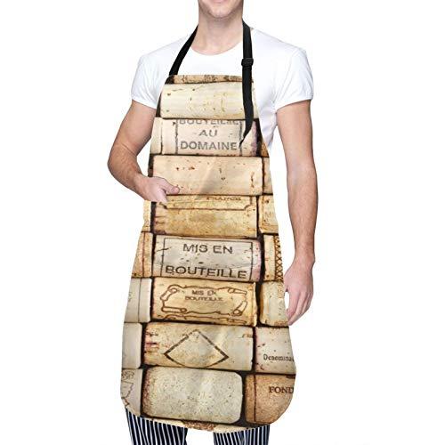 DAHALLAR Ajustable Colgante de Cuello Personalizado Delantal Impermeable,Corcho de vino,Babero de Cocina Vestido para Hombres Mujeres con 2 Bolsillos Centrales