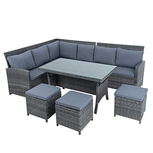 ESTEXO Polyrattan Lounge Set in luxuriöser Optik bestehend aus 1 Couch, 3 Hockern und 1 Tisch, inklusive Sitzpolster, grau - 6