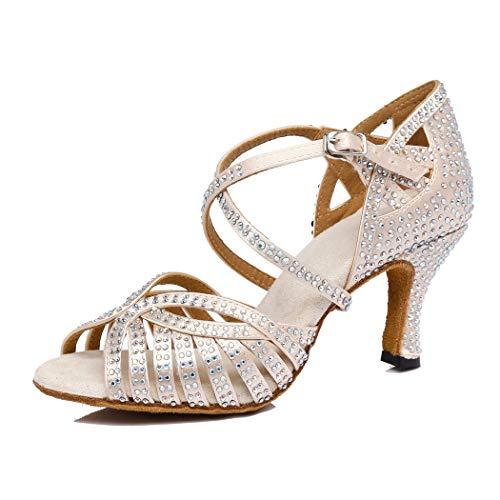 MGM-Joymod Damen Peep Toe Cross Strap Cut-Out Satin Strass Salsa Tango Latin Modern Hochzeit Ballsaal Tanzschuhe, Beige - Beige 7 cm Absatz - Größe: 34 EU