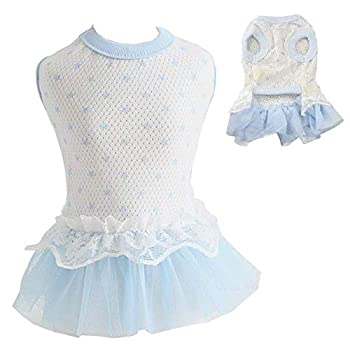 ANIAC Pet Apparel Small Animals Skirt Cat Princess Dress Rabbit Outfits Puppy Lace Tutu Skirt Spring Summer Clothes for Kitten Kitty Chihuahua Ferret and Small Dogs  XS Blue