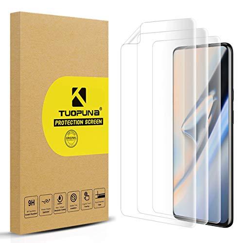Tuopuna [3 Pack Kompatibel für One Plus 7 Pro / 7T Pro Schutzfolie (kein Glas), Gebogene 3D-Bildschirmschutzfolie, volle Abdeckung, Auto-Reparatur, Folie für OnePlus 7T Pro