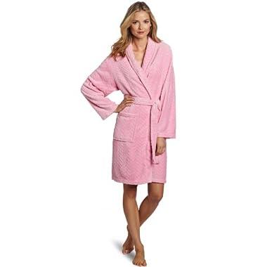 Seven Apparel Hotel Spa Collection Herringbone Textured Plush Robe, Bright Pink