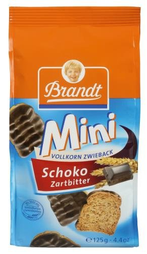 Brandt Mini Vollkorn -Zartbitter-Zwieback, 12er Pack (12 x 125 g Packung)