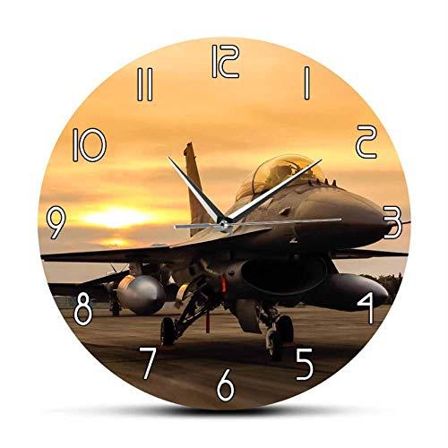 Falcon Fighter Jet Aircraft Avión Reloj de Pared Air Force Aircraft Wall Art Aviación Decoración Piloto Militar Regalo Frameless 30cm