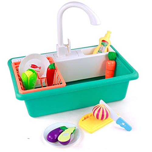 jerryvon Waschbecken Küche Spielküche Küchen Zubehör Kinderwaschbecken Küchen Utensilien mit Simuliertem Wasserhahn Küchenzubehör Geschirrspüler Waschen Rollenspiele für Jungen Mädchen ab 3+ Jahren