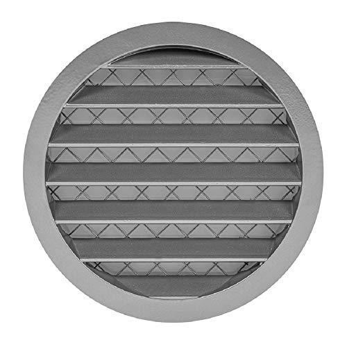 Aluminium 160mm Wetterschutzgitter - Rund Grau Lüftungsgitter Abluftgitter Gitter mit Mäuseschutzgitter