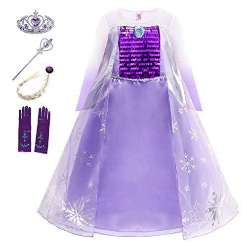 Eleasica Niña Vestido Frozen Disfraz de Princesa Elsa Reino de Hielo Corona Varita Mágica Accesorio Niños Costume Carnaval Navidad Fiesta Regalo Parte Ceremonia Cosplay