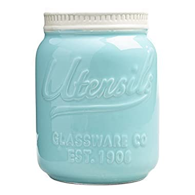 Mason Jar Ceramic Utensil Crock, Aqua Blue