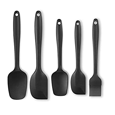 Silicone Spatula Set,Besiva 5-piece 600ºF Heat-Resistant Spatulas,Baking Spoons & Silicone Brush,Safe Soft and Non-stick Flexible Rubber Spatulas with Stainless Steel Core Design