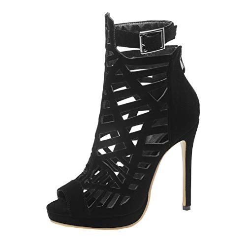 MISSUIT Damen Stiletto Sandalen High Heels Sommer Stiefel mit Absatz Plateau Stiefeletten Cut Out Peep Toe(Schwarz,37)